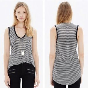 Madewell Black and White stripes tank top size XS